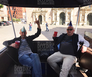 enjoying vip lounge on beer bike